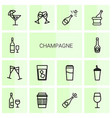 champagne icons vector image vector image