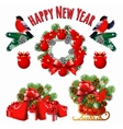 Christmas and new year set of decoration vector image