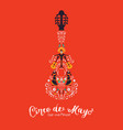 cinco de mayo card mariachi guitar decoration vector image vector image