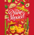cinco de mayo holiday guitar sombrero maracas vector image vector image