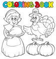 coloring book thanksgiving theme vector image