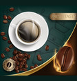 cup with a coffee and beans vector image