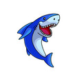 cute open mouth white blue ocean shark vector image vector image