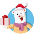 cute polar bear holding christmas gift vector image
