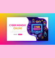 cyber monday online neon landing page vector image vector image
