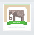 elephant banner indian sacred animal flat vector image