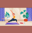 female cartoon character doing fitness at home vector image