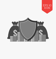 Finance protection concept icon Flat design gray vector image vector image