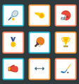 flat icons boxing reward puck and other vector image vector image
