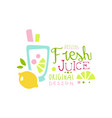 fresh juice natural product logo original design vector image