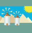 greek island windmills - cyclades greece vector image