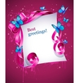 greeting card with pink bow vector image vector image