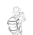 guy with the backpack conceptual travel vector image vector image