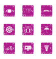 healthy individual icons set grunge style vector image