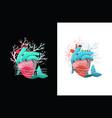 heart coral reef ocean environment design vector image