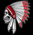 indian chief skull vector image