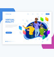 isometric man and woman using a virtual reality vector image