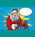 joyful santa claus with bag of christmas gifts vector image vector image