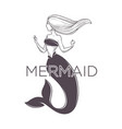 light haired mermaid graphic sketch art with text vector image vector image