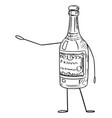 liquor bottle cartoon character pointing at vector image vector image