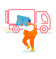 marine dock worker carry container to truck vector image