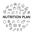 nutrition plan icons with sign in circle shape vector image vector image