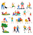 people rest flat set vector image