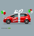 red car with white bow and color balloons vector image vector image