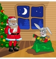 Santa Claus and Christmas rabbit vector image