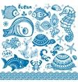 set fish and shells vector image vector image