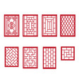 set of chinese pattern window with frame vector image vector image
