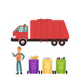 set of recycling icons with trash bins worker in vector image