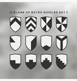 set shields black and white 3 vector image vector image