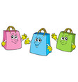 smiling shopping bags vector image