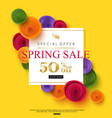 spring sale banner template with paper rose vector image vector image