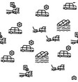 tow truck transport seamless pattern vector image