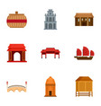 vietnam icon set flat style vector image