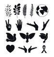 white background silhouette set of elements icons vector image