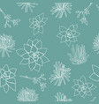 white succulent line shapes on petrol background vector image vector image