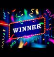 winner neon bulb vector image