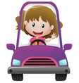happy girl driving in purple car vector image
