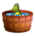 A crocodile swimming at the bathtub vector image vector image