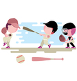 baseball kids character set vector image