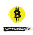 bitcoin icon from grunge brush strokes vector image
