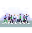 business people cross road businessman crosses vector image