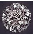 Cartoon cute doodles Halloween inscription vector image vector image