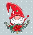 christmas card cute cartoon gnome with christmas vector image