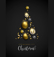 Christmas gold pine tree decoration layout card