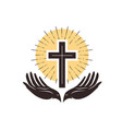 church logo cross and hands christian symbol vector image vector image
