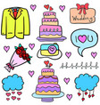 collection stock of wedding object in doodles vector image vector image